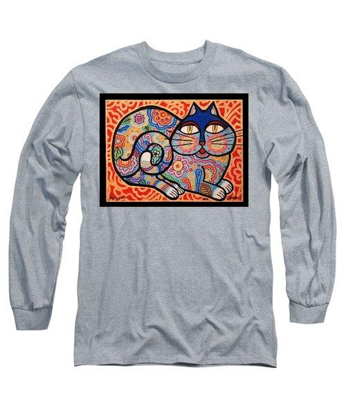 Blue Cat Long Sleeve T-Shirt by Jim Harris