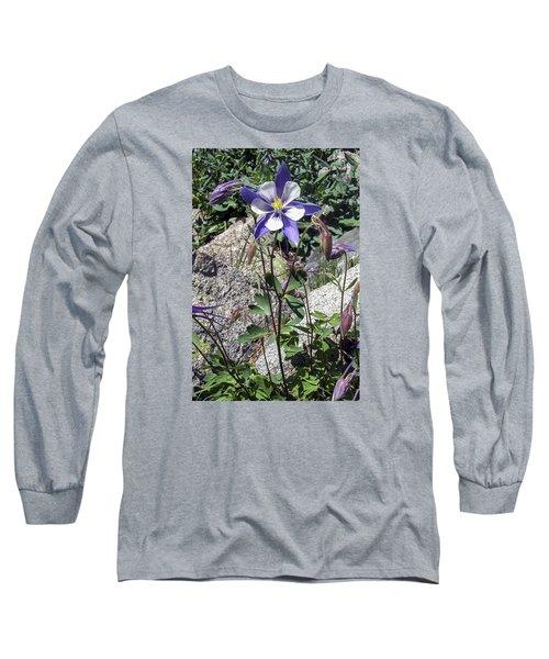Blue Columbine Colorado Mountains Long Sleeve T-Shirt