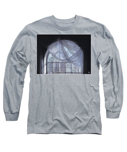 Hand-painted Blue Curtain In An Arch Window Long Sleeve T-Shirt