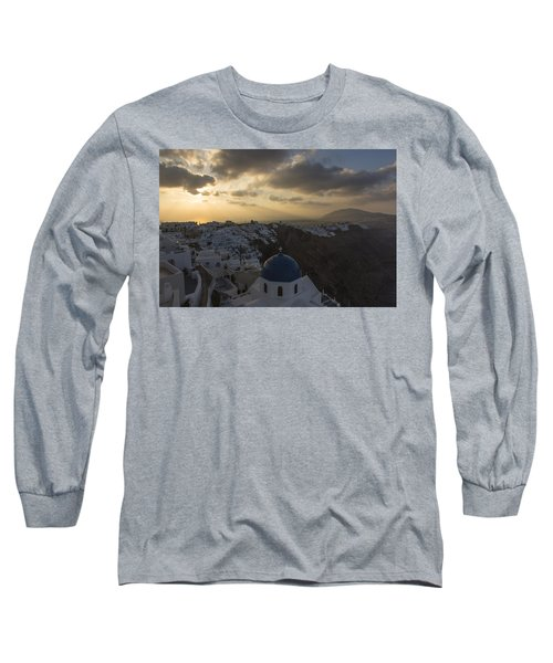 Long Sleeve T-Shirt featuring the tapestry - textile Blue Dome - Santorini by Kathy Adams Clark
