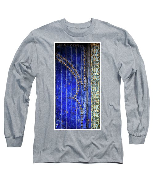 Long Sleeve T-Shirt featuring the photograph Blue Door In Marrakech by Marion McCristall