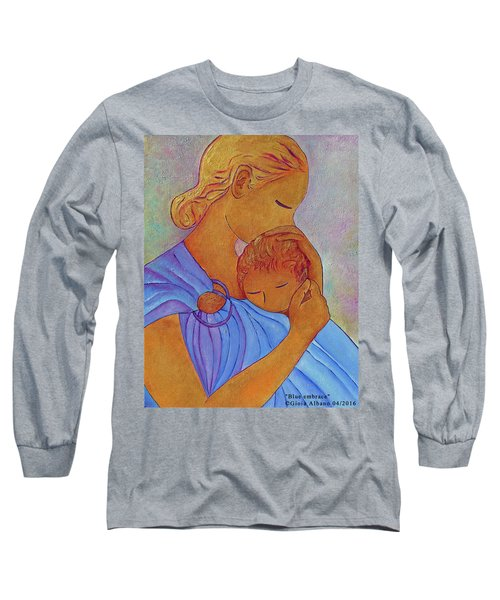 Long Sleeve T-Shirt featuring the painting Blue Embrace by Gioia Albano