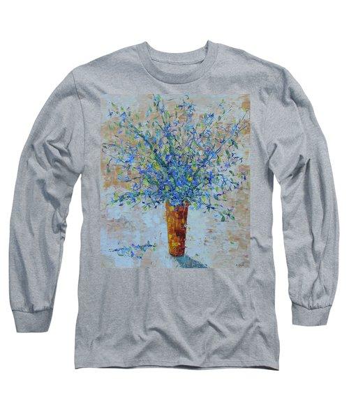 Blue Floral Long Sleeve T-Shirt