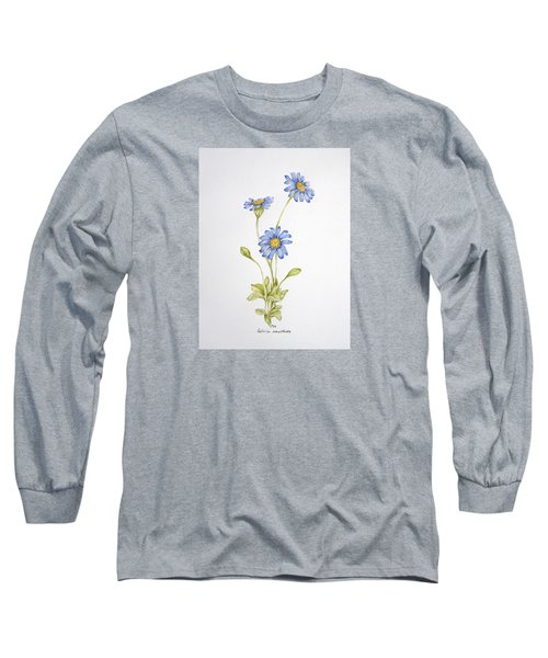Blue Flower Long Sleeve T-Shirt by Theresa Marie Johnson