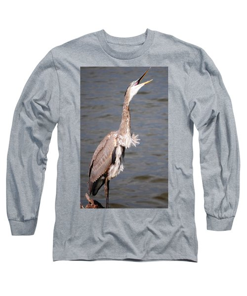 Blue Heron Calling Long Sleeve T-Shirt by Sumoflam Photography