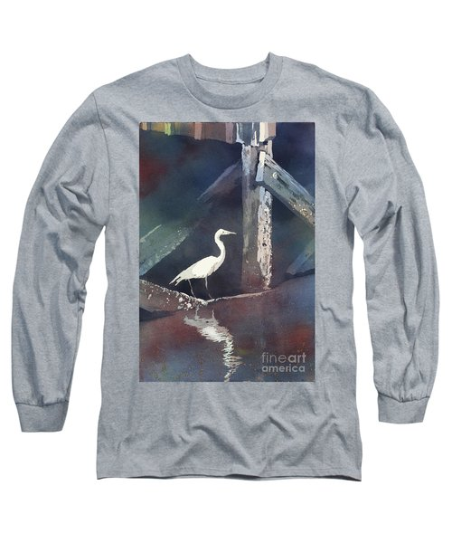 Long Sleeve T-Shirt featuring the painting Blue Heron- Outer Banks by Ryan Fox