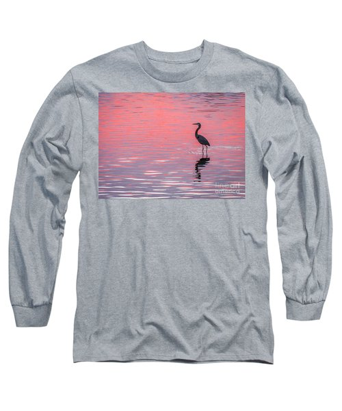 Blue Heron - Pink Water Long Sleeve T-Shirt