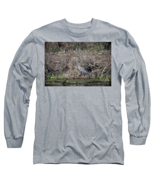 Long Sleeve T-Shirt featuring the photograph Blue Heron Stalking Dinner by David Bearden