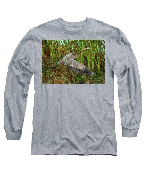 Blue Heron Take-off Long Sleeve T-Shirt by Tom Claud