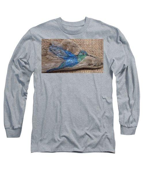 Blue Hummingbird Long Sleeve T-Shirt by Ann Michelle Swadener