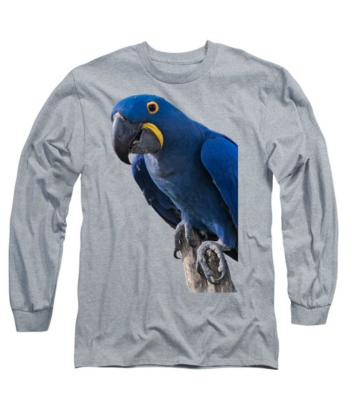 Blue Macaw Long Sleeve T-Shirt by Mark Myhaver