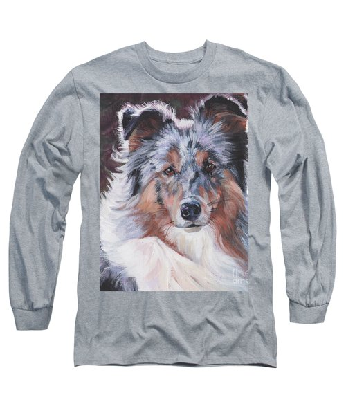 Long Sleeve T-Shirt featuring the painting Blue Merle Sheltie by Lee Ann Shepard