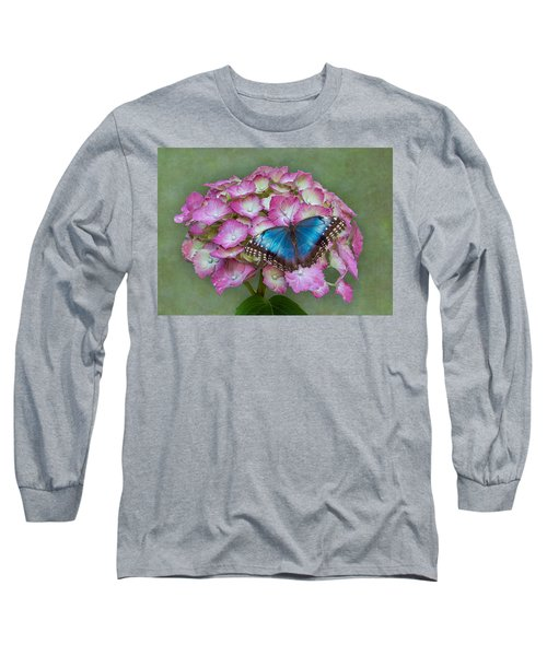 Blue Morpho Butterfly On Pink Hydrangea Long Sleeve T-Shirt
