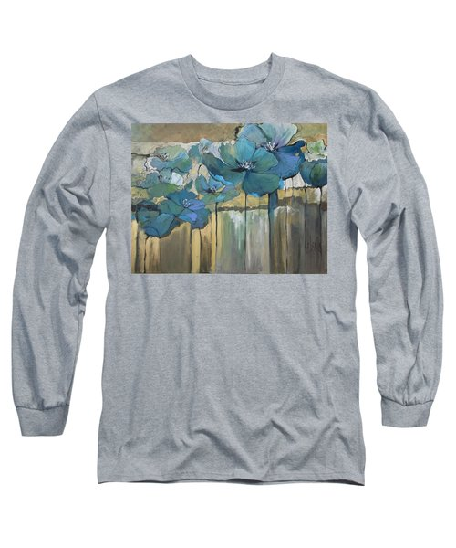 Long Sleeve T-Shirt featuring the painting Blue Poppies by Eleatta Diver
