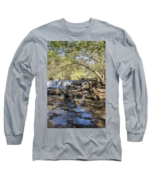 Blue Puddle Falls Long Sleeve T-Shirt by Ricky Dean