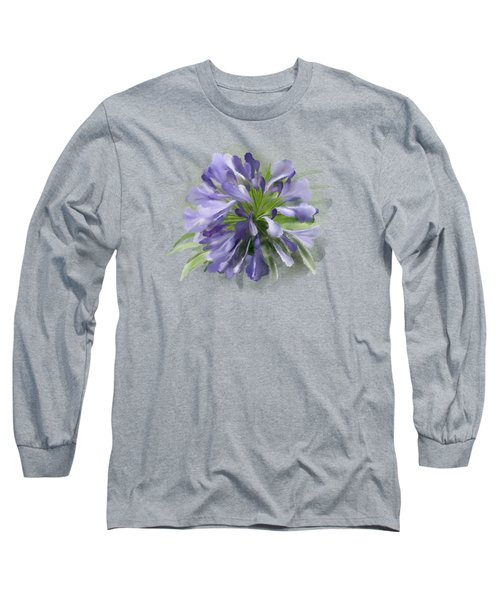 Blue Purple Flowers Long Sleeve T-Shirt