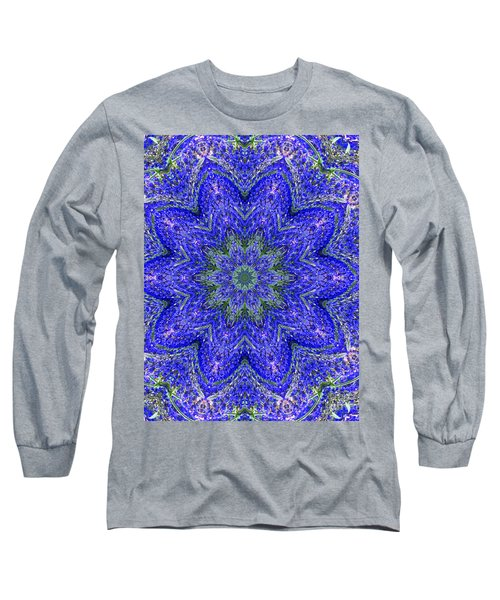 Blue Purple Lavender Floral Kaleidoscope Wall Art Print Long Sleeve T-Shirt by Carol F Austin