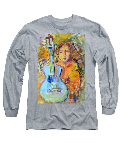 Blue Quitar Long Sleeve T-Shirt by Mary Schiros