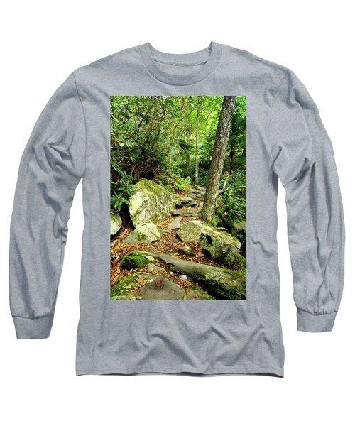 Long Sleeve T-Shirt featuring the photograph Blue Ridge Parkway Hiking Trail by Meta Gatschenberger
