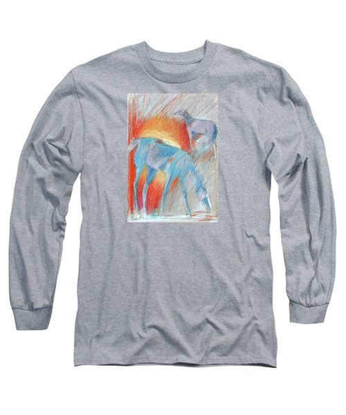 Blue Roans Long Sleeve T-Shirt by Mary Armstrong