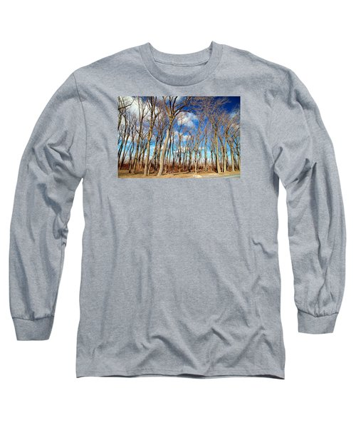 Long Sleeve T-Shirt featuring the photograph Blue Sky And Trees by Valentino Visentini