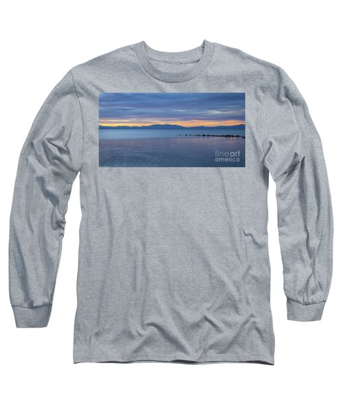 Blue Tahoe Sunset Long Sleeve T-Shirt by Mitch Shindelbower