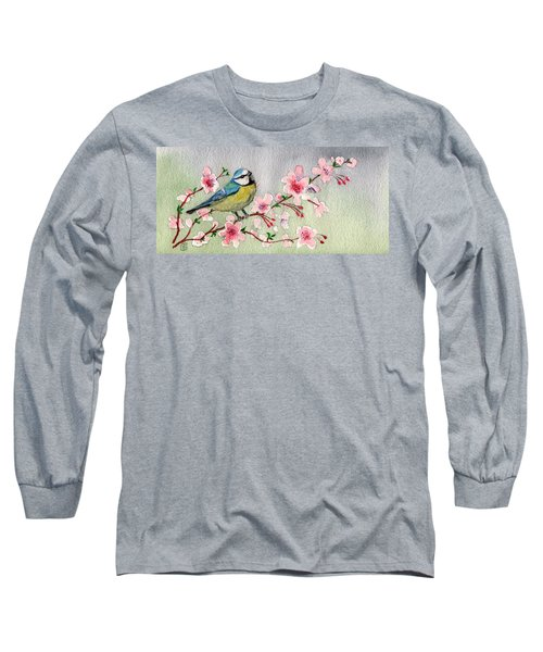 Blue Tit Bird On Cherry Blossom Tree Long Sleeve T-Shirt