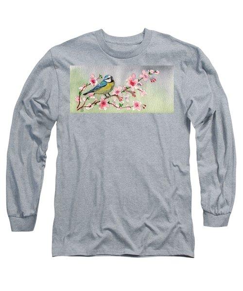 Blue Tit Bird On Cherry Blossom Tree Long Sleeve T-Shirt