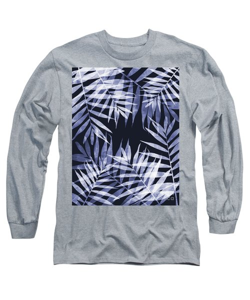 Blue Tropical Leaves Long Sleeve T-Shirt