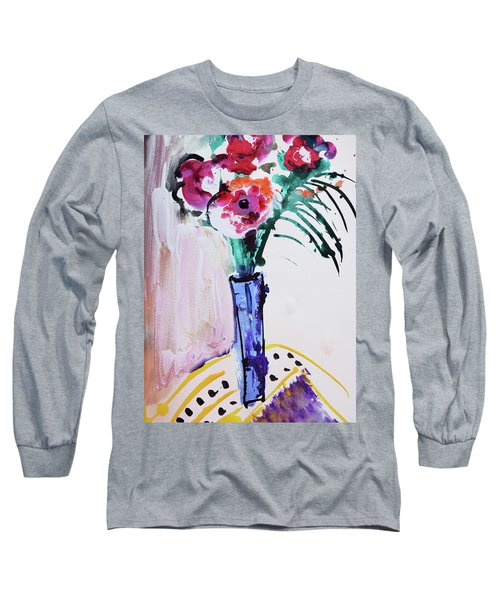 Blue Vase With Red Wild Flowers Long Sleeve T-Shirt by Amara Dacer