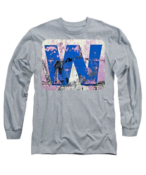 Blue W Long Sleeve T-Shirt by Ethna Gillespie