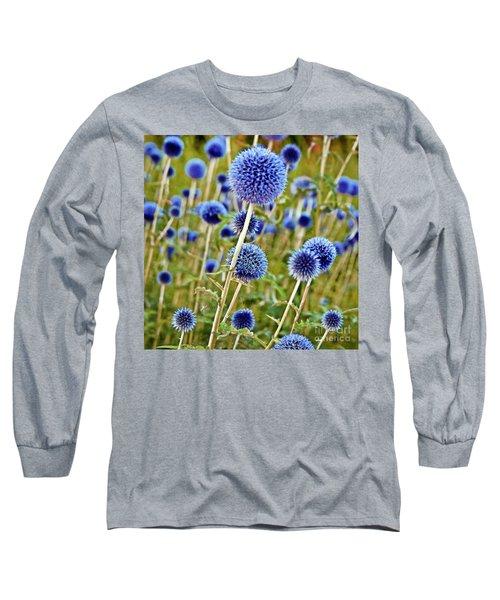 Blue Wild Thistle Long Sleeve T-Shirt