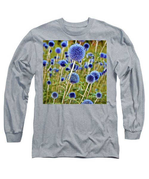 Blue Wild Thistle Long Sleeve T-Shirt