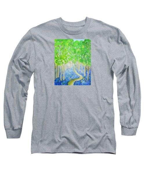Bluebell Wood With Butterflies Long Sleeve T-Shirt
