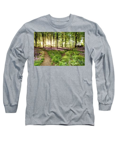 Bluebell Woods With Birds Flocking  Long Sleeve T-Shirt