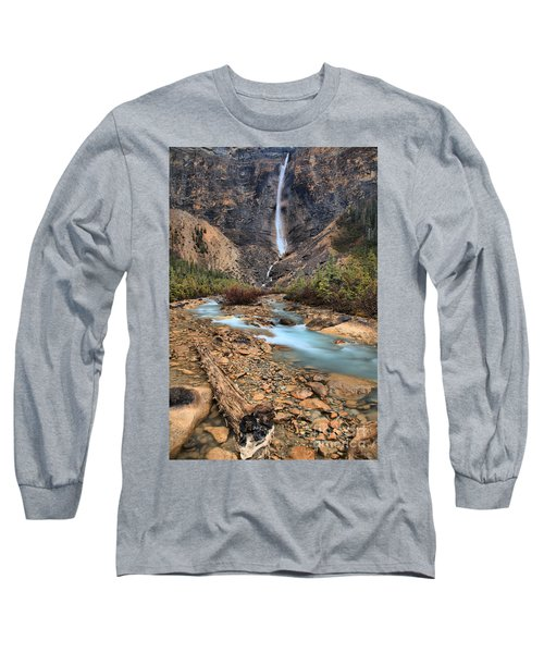Long Sleeve T-Shirt featuring the photograph Blueberry Blue Waters Under Takakkaw Falls by Adam Jewell