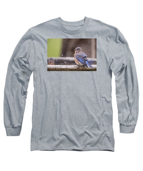 Bluebird Bubble Bath Long Sleeve T-Shirt by Bonnie Barry