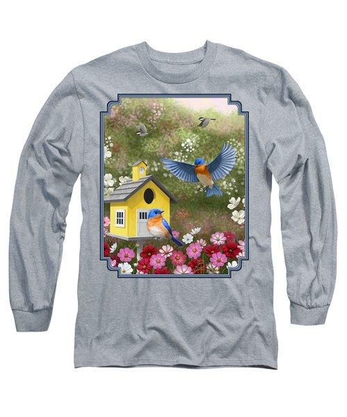 Bluebirds And Yellow Birdhouse Long Sleeve T-Shirt