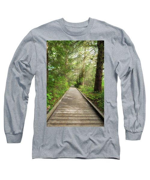 Boardwalk Along Hiking Trail At Fort Clatsop Long Sleeve T-Shirt