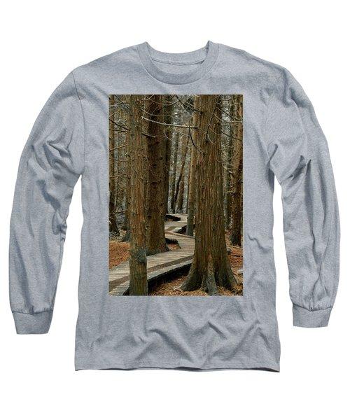 Boardwalk Among Trees Long Sleeve T-Shirt by Scott Holmes