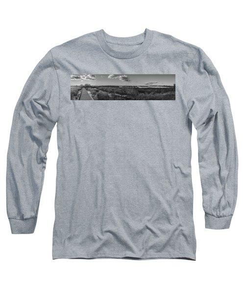 Boardwalk Panorama Monochrome Long Sleeve T-Shirt