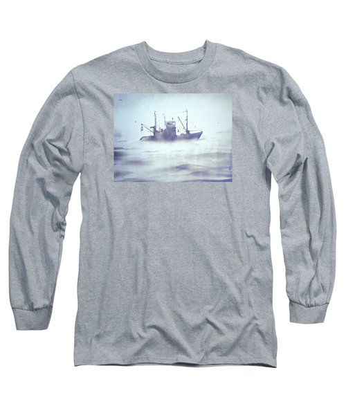 Boat In The Foggy Sea Long Sleeve T-Shirt by Elena Vedernikova