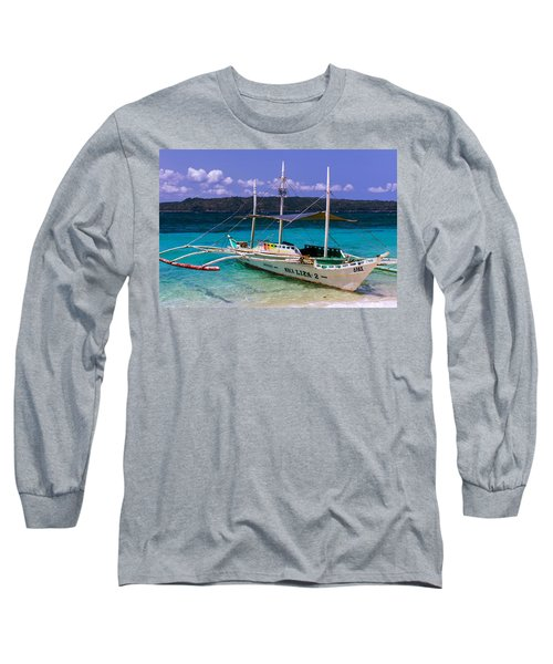 Boat On Puka Beach, Boracay Island, Philippines Long Sleeve T-Shirt