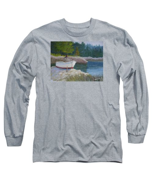 Boat On Tidal River Long Sleeve T-Shirt