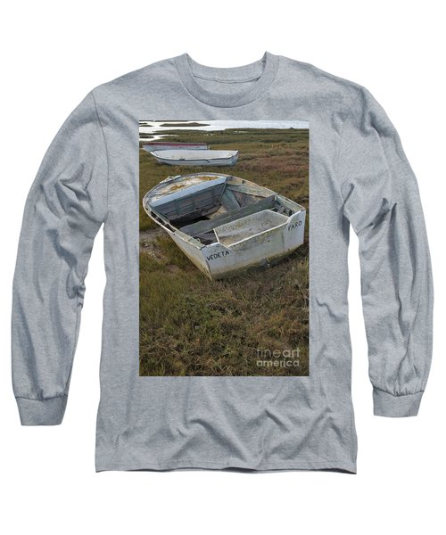 Boats In Ria Formosa Long Sleeve T-Shirt by Angelo DeVal