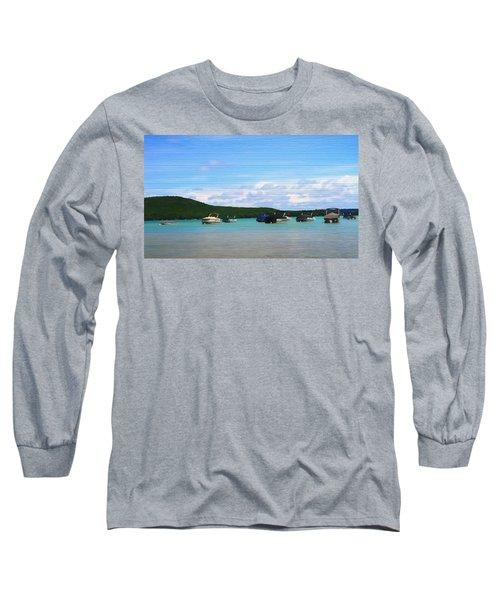 Boats In Sleeping Bear Bay Wood Texture Long Sleeve T-Shirt by Dan Sproul