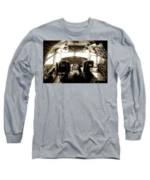 Long Sleeve T-Shirt featuring the photograph Boeing 747 Cockpit 21 by Micah May