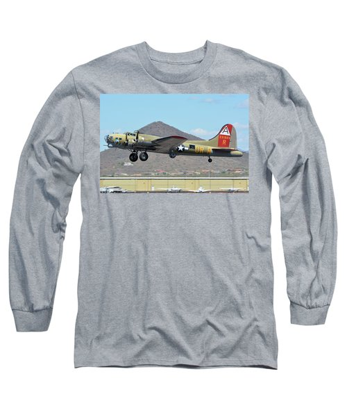 Long Sleeve T-Shirt featuring the photograph Boeing B-17g Flying Fortress N93012 Nine-o-nine Deer Valley Arizona April 13 2016 by Brian Lockett