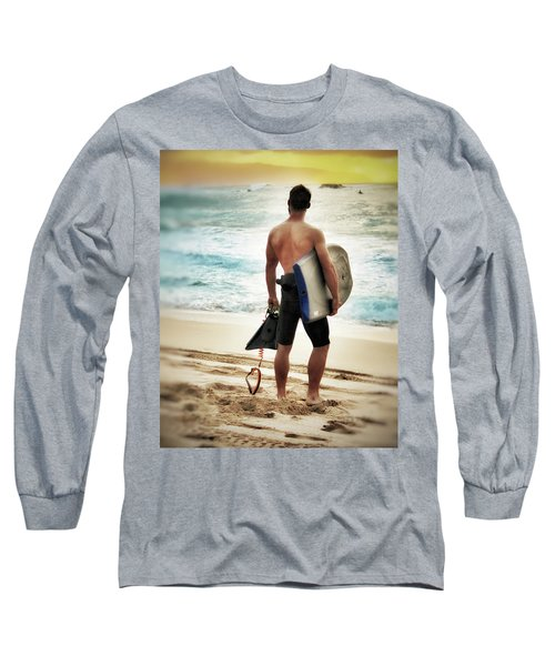 Long Sleeve T-Shirt featuring the photograph Boggie Boarder At Waimea Bay by Jim Albritton