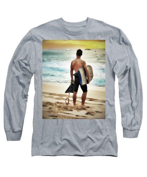 Boggie Boarder At Waimea Bay Long Sleeve T-Shirt